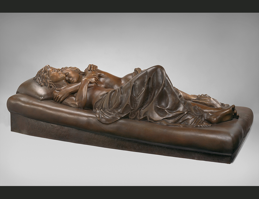 Sculpture of two women reclining together