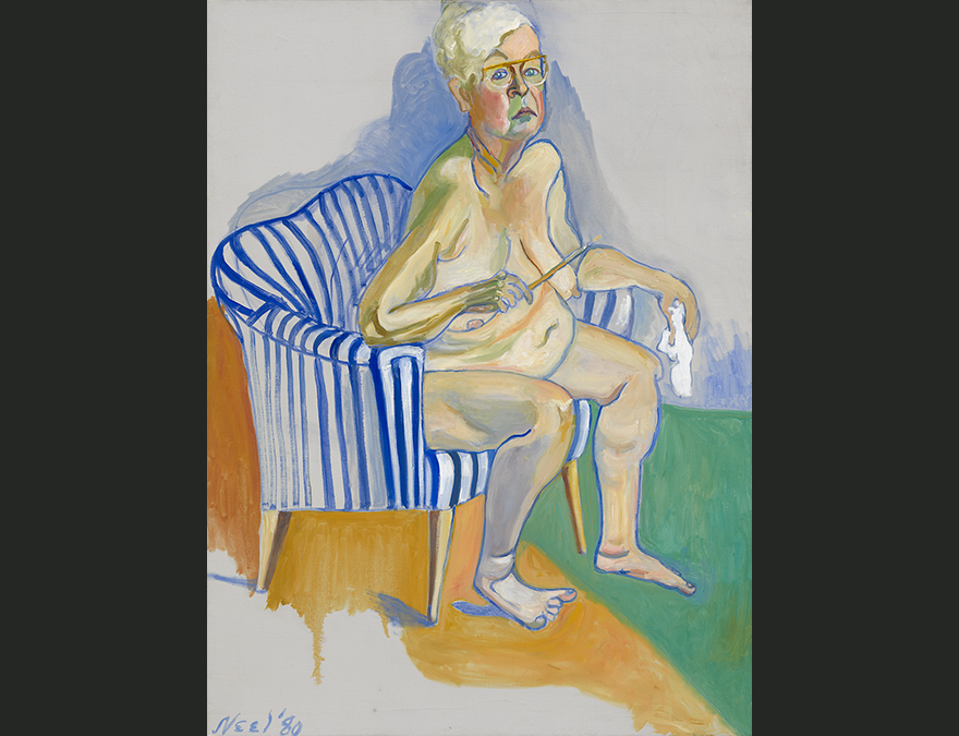 Older woman in the nude seated in a striped chair