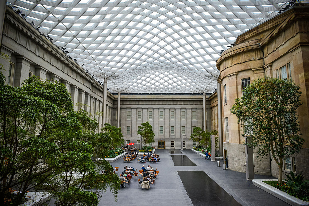 View of the Kogod Courtyard in daylight