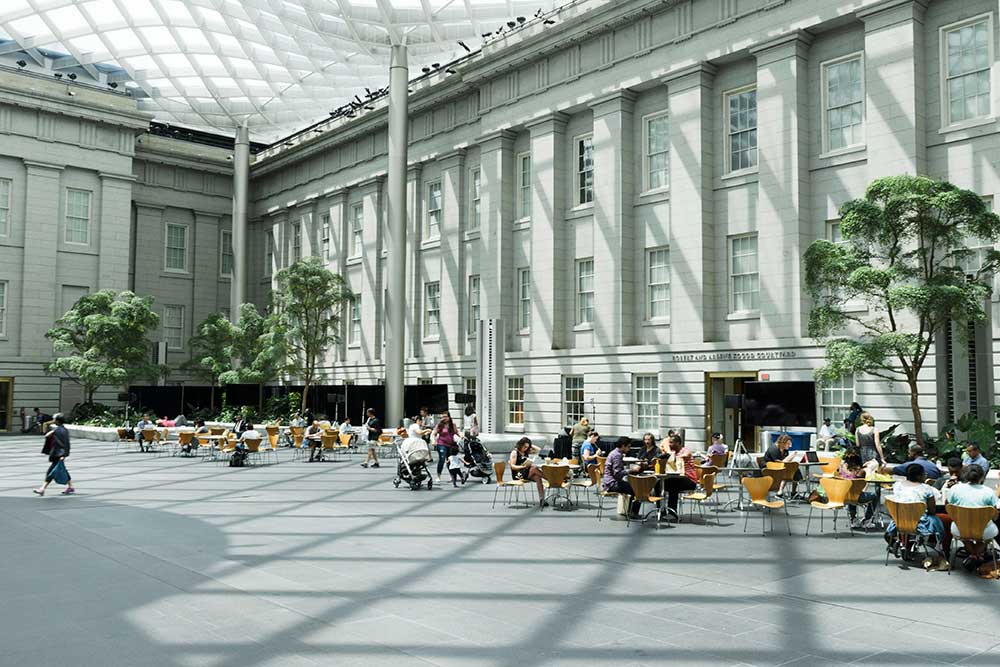 View of the Kogod Courtyard in the daylight