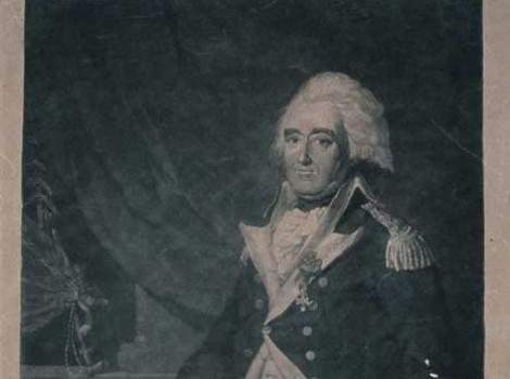 Portrait of Anthony Wayne in military uniform, with his hand on a piece of paper