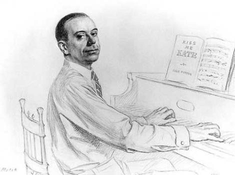 Drawing of Cole Porter at a piano