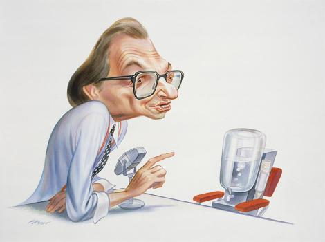 caricature of a man in glasses interviewing a water cooler