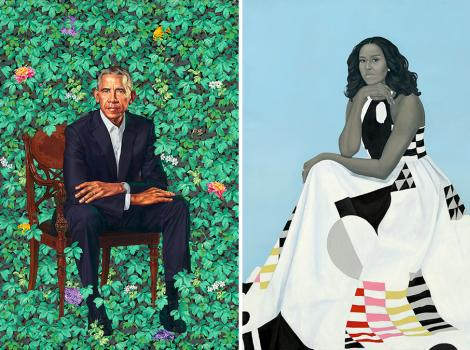 portrait of a man sitting in green foliage and portrait of a woman in a white dress against a blue background