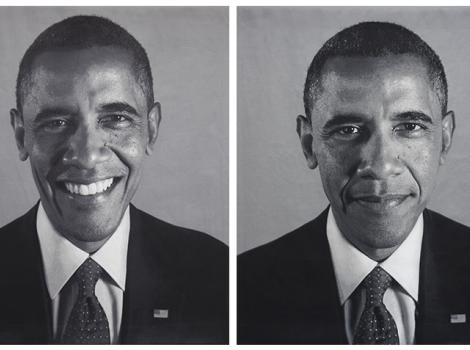 two portraits of an African American man in a suit and tie
