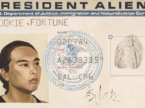 painting of the artists identification card