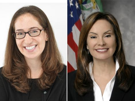 photos of two women with long brown hair, one with glasses