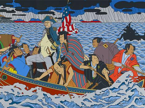 Colorful portrait of a group of Japanese men crossing a river in a boat